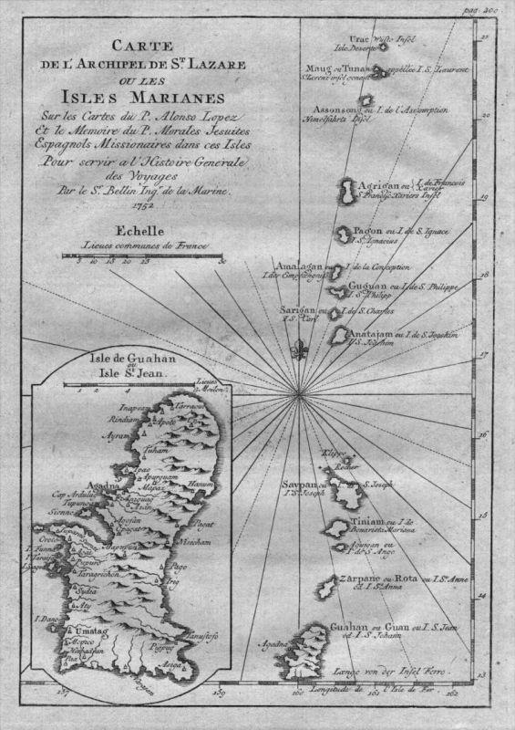 Marianen Mariana Islands Pacific Ocean Karte map engraving Kupferstich