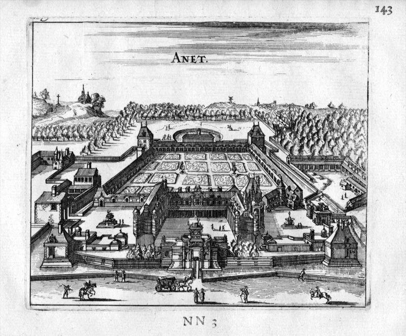 Chateau d'Anet Eure-et-Loir Frankreich France gravure estampe Kupferstich