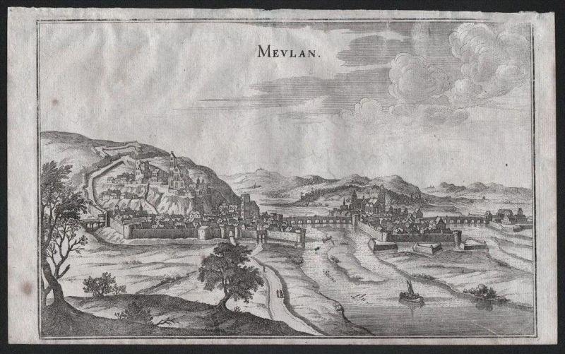 Meulan-en-Yvelines Seine gravure Kupferstich Merian engraving