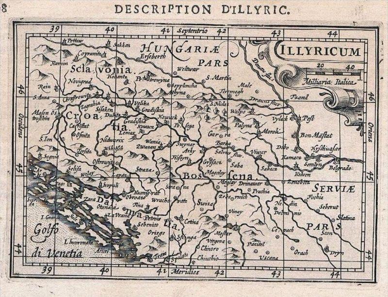 Illyrien Dalmatien Bosnia Serbia Croatia map Karte Hondius Kupferstich