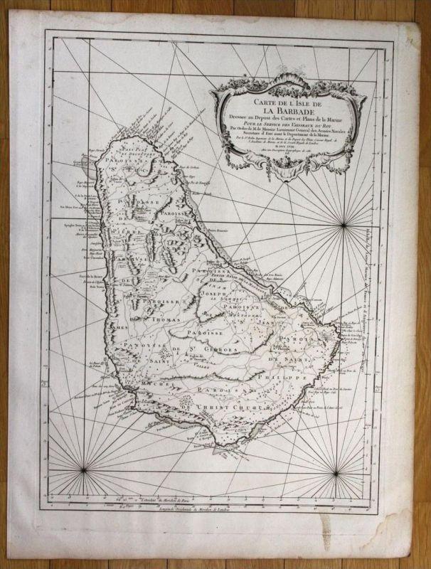Barbados  island Lesser Antilles Caribbean Bellin nautical sea chart map