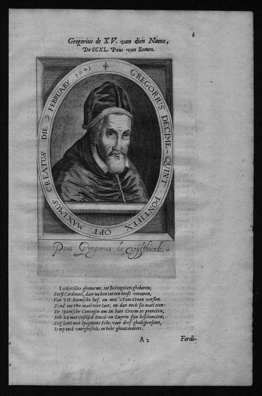Gregor XV Papst pope papa Portrait Kupferstich engraving