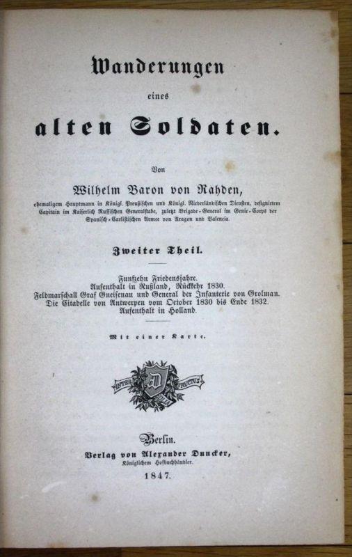 - 1851 Wilhlem Baron von Rahden Wanderungen eines alten Soldaten 3 Bände