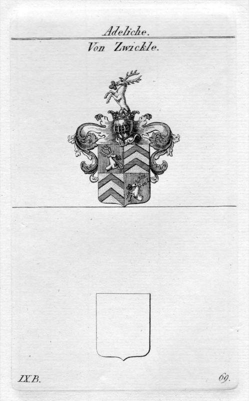 Zwickle - Wappen Adel coat of arms heraldry Heraldik Kupferstich