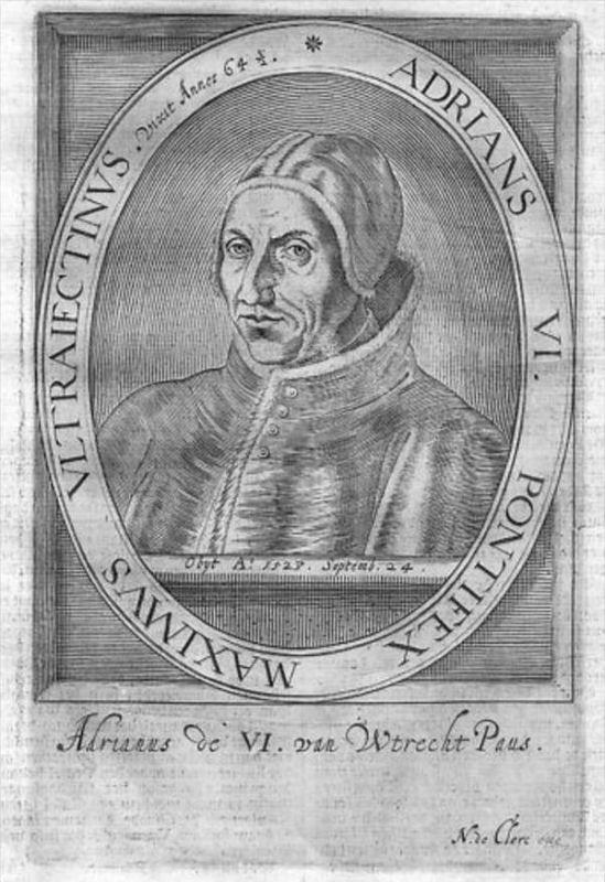 Hadrian VI. Papst Pope Papa Kupferstich Portrait engraving
