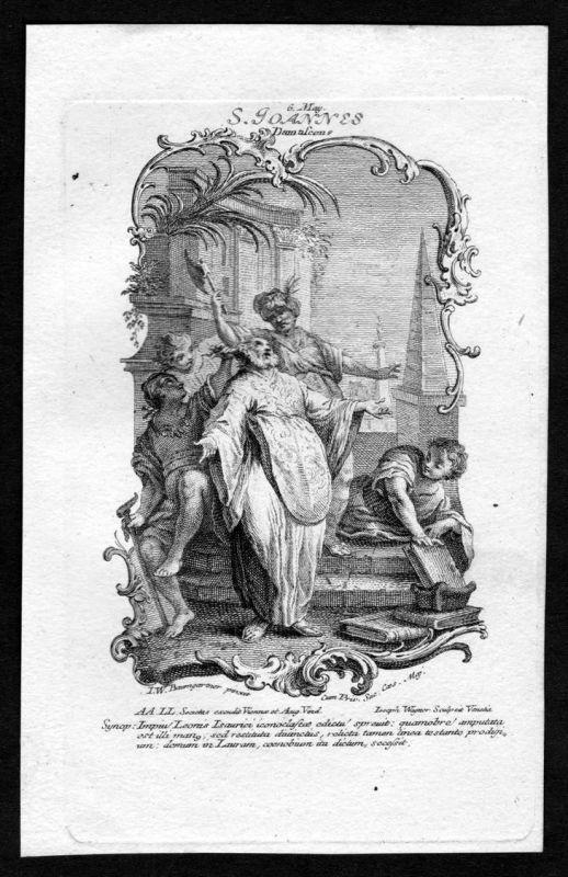 Johannes von Damaskus 6. Mai may - Kupferstich Heiliger Heiligenbild Holy Card