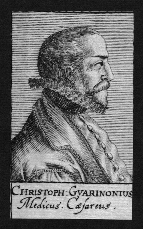 Christoph Guarinonius Arzt doctor Italien Italy Kupferstich Portrait