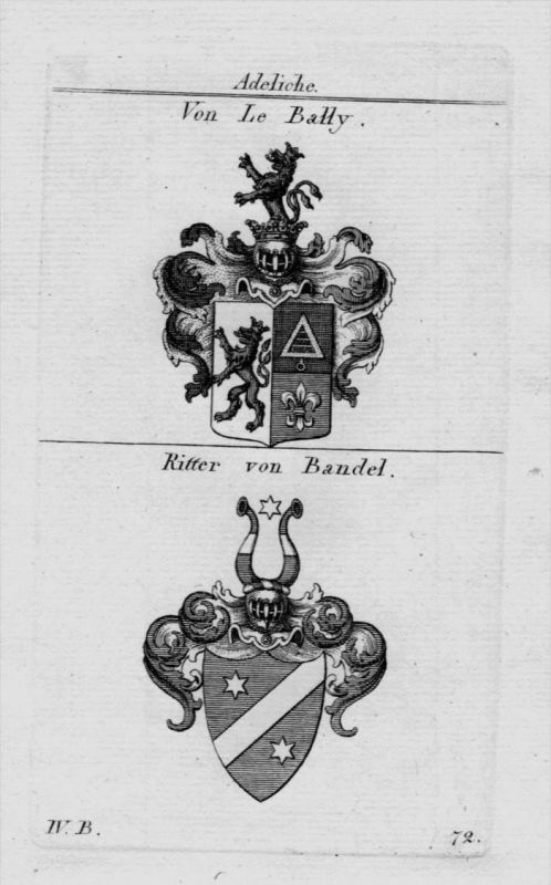 Le Bally Bandel Wappen Adel coat of arms heraldry Heraldik Kupferstich