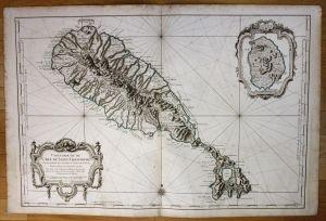 St Kitts island Lesser Antilles nautical sea chart map Bellin antique print