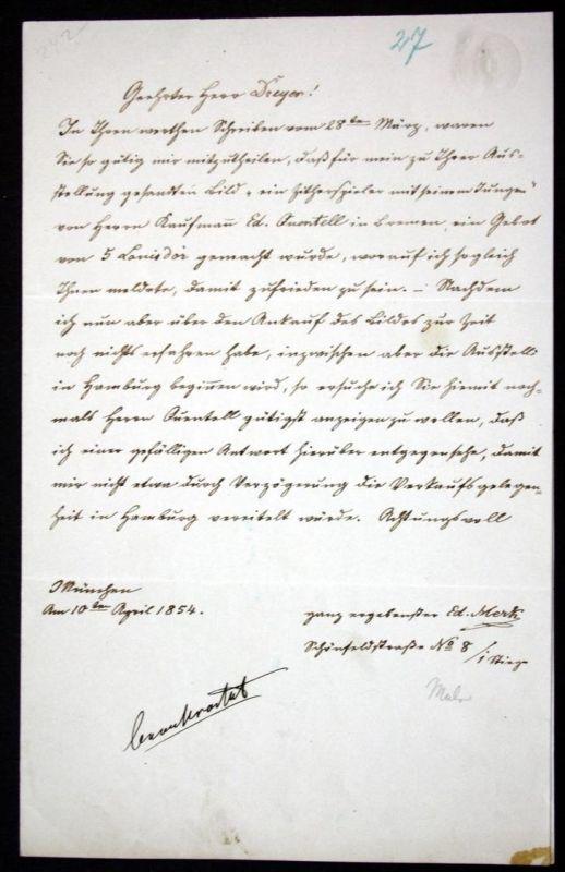 handschriftlicher Brief mit Unterschrift vom 10. April 1854. / autograph letter with signature.