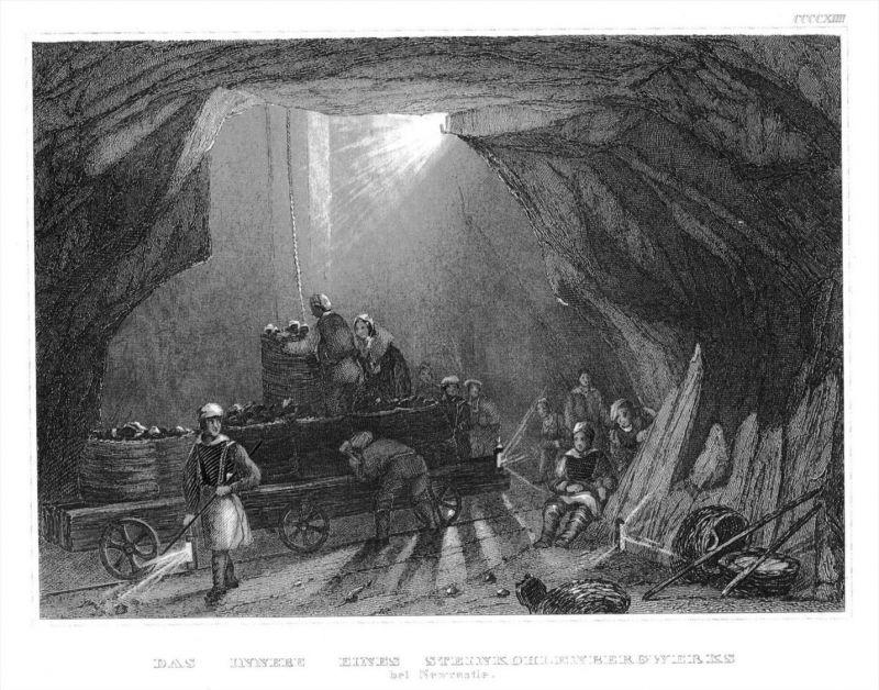 Das Steinkohlenbergwerk New Castle England Original Stahlstich engraving