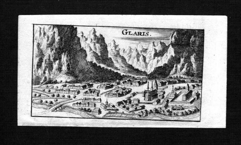 Glarus Gesamtansicht Schweiz Suisse gravure Kupferstich Riegel