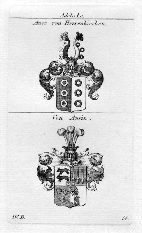 Auer Ausin - Wappen Adel coat of arms heraldry Heraldik Kupferstich