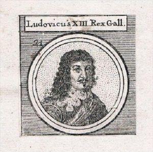 Ludwig XIII König von Frankreich und Navarra Roi Kupferstich Portrait