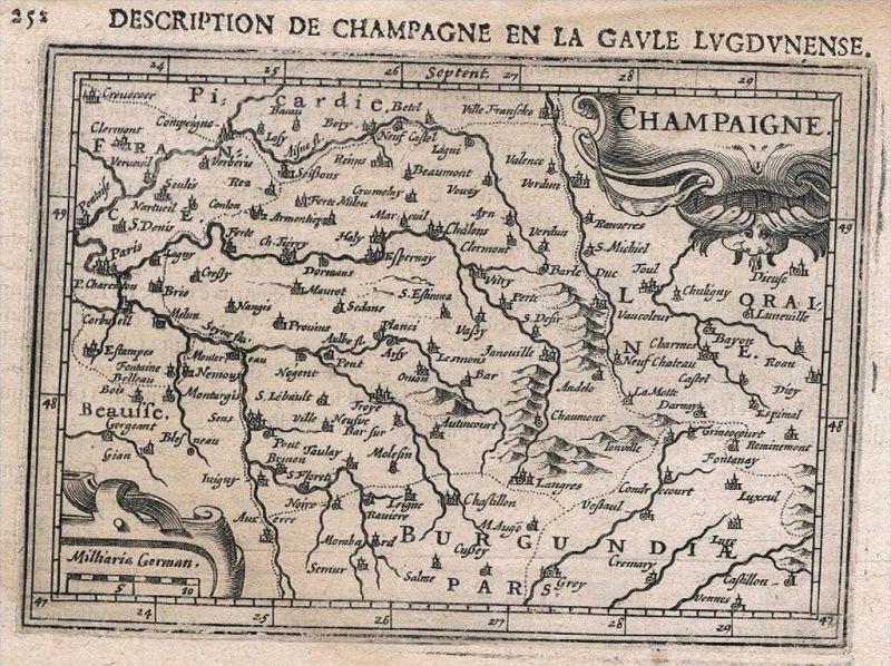 Champagne Epernay carte map Karte Hondius Kupferstich