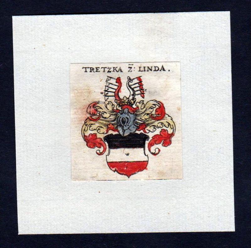 17. Jh Tretzka zu Linda Wappen Adel coat of arms heraldry Heraldik Kupferstich