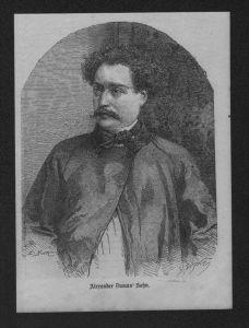 Portrait Alexandre Dumas Schrifsteller Dichter Holzstich wood engraving