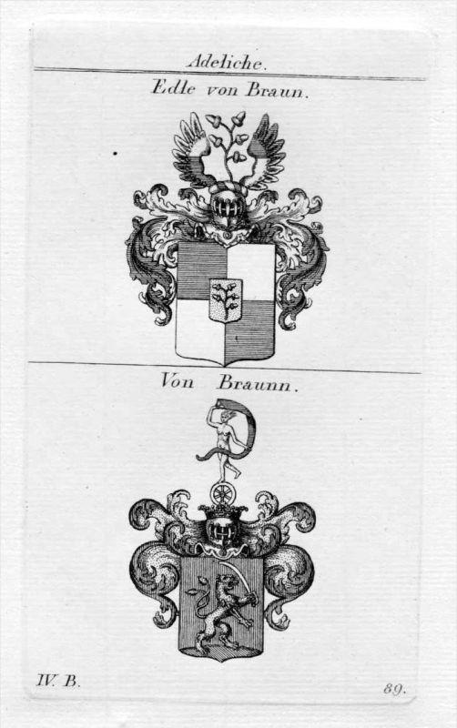 Braun Braunn - Wappen Adel coat of arms heraldry Heraldik Kupferstich