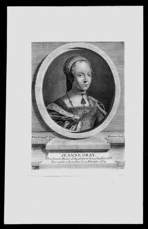 Lady Jane Grey Nichte Henri VIII Königin von England Kupferstich Portrait