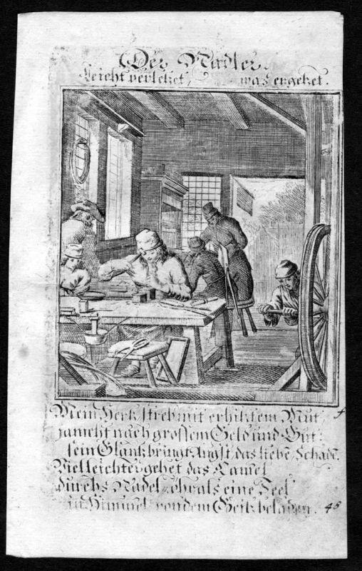 Radmacher Radler wheel maker Beruf profession Weigel Kupferstich antique print