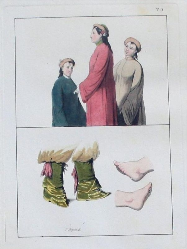 China Tartarei costumes Trachten Aquatinta aquatint antique print