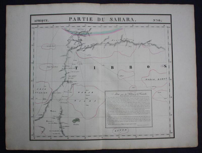 Sahara desert Wüste Libya Tchad Africa Afrika map Karte Vandermaelen Litho