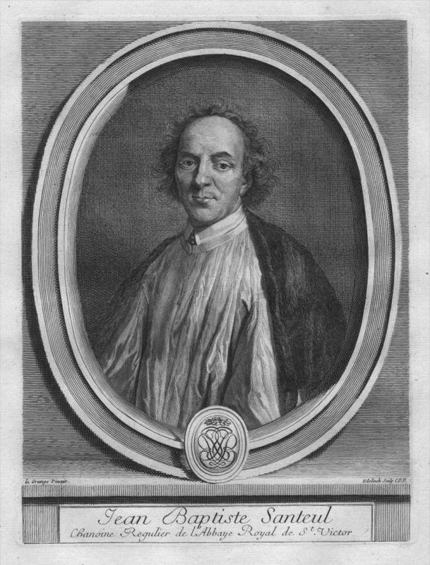 Jean Baptiste Santeul - Poet - Portrait Wappen Kupferstich engraving