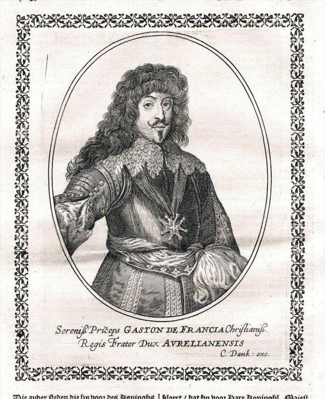 Gaston de France Orleans Valois Blois Portrait Kupferstich