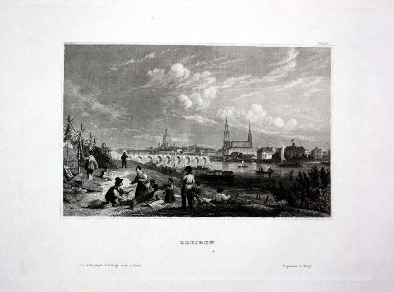Neuburg an der Donau Ansicht view Schafe Bayern engraving Stahlstich