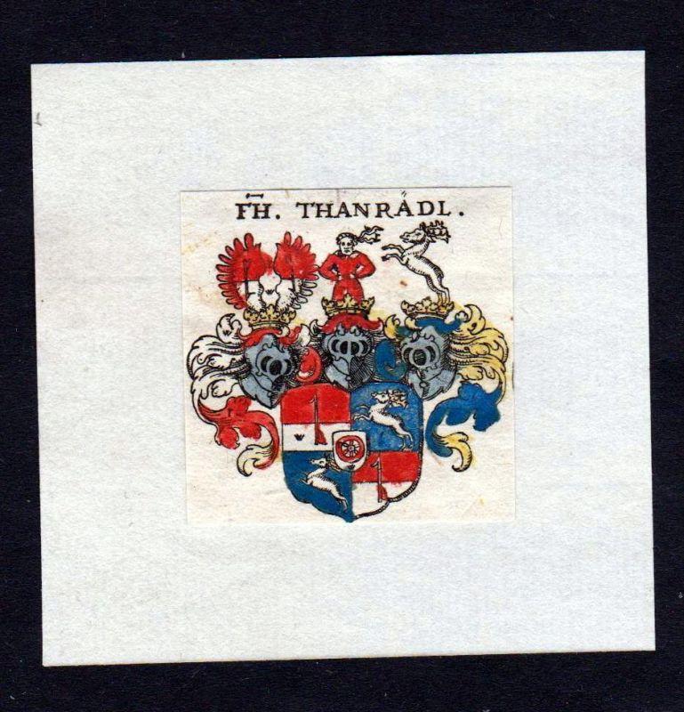17. Jh Thanradl Wappen Adel coat of arms heraldry Heraldik Kupferstich