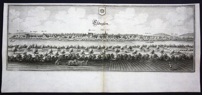 Eldagsen / Springe - Gesamtansicht - Kupferstich Merian