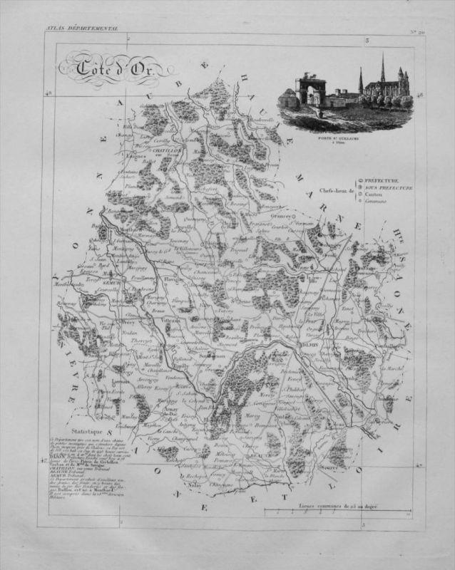 Departement Cotes du Or carte gravure Kupferstich Karte map France