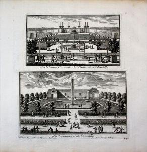 Chateau de Chantilly garden jardin Garten Perelle gravure engraving