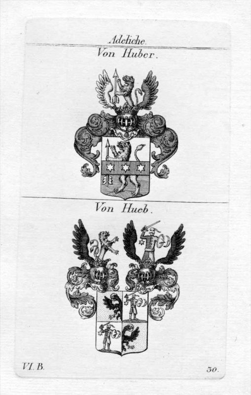 Von Huber / Von Hueb / Bayern - Wappen coat of arms Heraldik heraldry Kupferstich