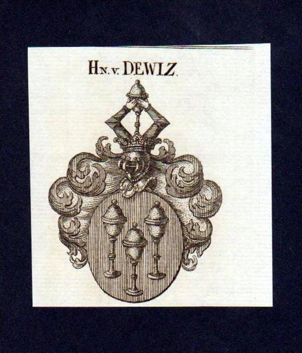 Herren von Dewiz Original Kupferstich Wappen engraving Heraldik crest
