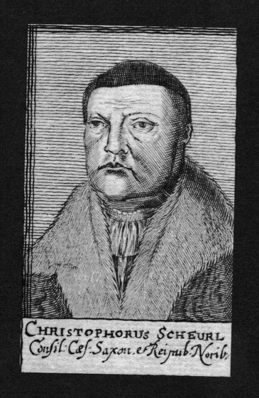Christoph Scheurl Jurist lawyer Humanist Nürnberg Kupferstich Portrait