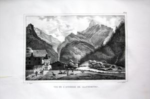 Vue de L´Auberge de Kandersteg - Kandersteg Herberge Alpen - Schweiz Suisse Lithographie Pingret.