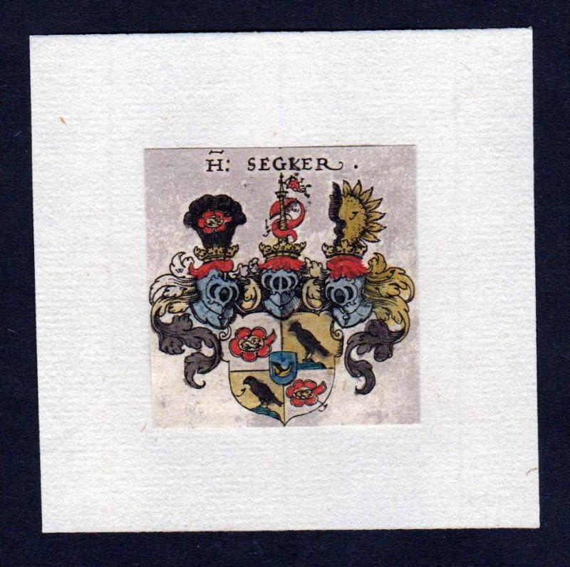 17. Jh von Segger Wappen Adel coat of arms heraldry Heraldik Kupferstich