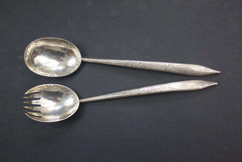 925 Silber silver George Wilhelm Adams 1875 Salatbesteck salad silverware signed