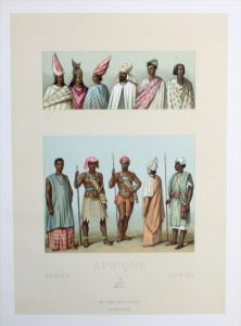 Afrika Africa Senegal costumes Trachten Lithographie lithograph