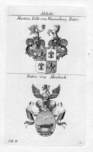 Martini Wasserberg Maubach Wappen coat of arms Heraldik heraldry Kupferstich