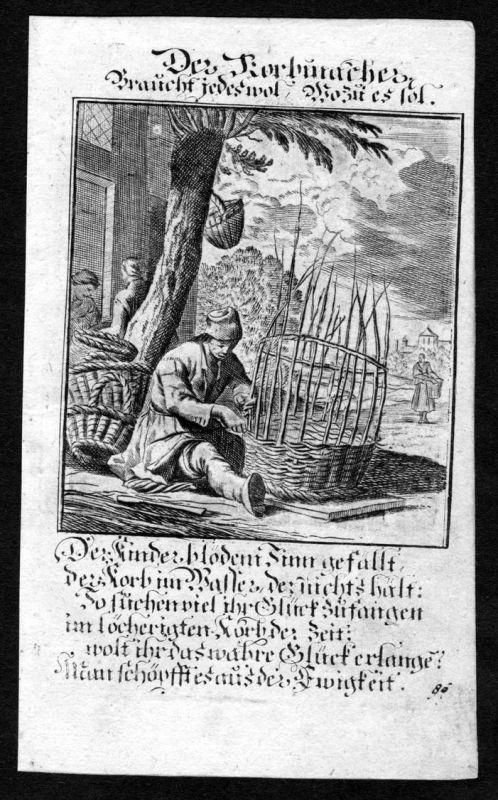 Korbmacher wickerwork Korb Beruf profession Weigel Kupferstich antique print