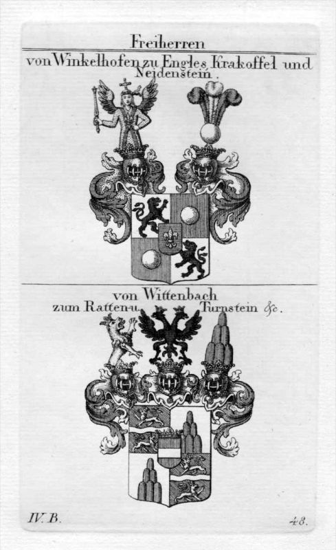 Winkelhofen Wittenbach - Wappen Adel coat of arms heraldry Heraldik Kupferstich