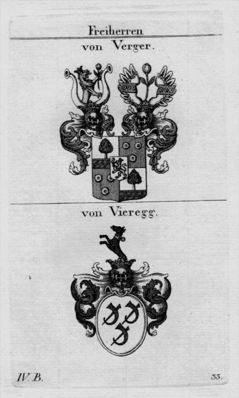 Verger Vieregg Wappen Adel coat of arms heraldry Heraldik Kupferstich