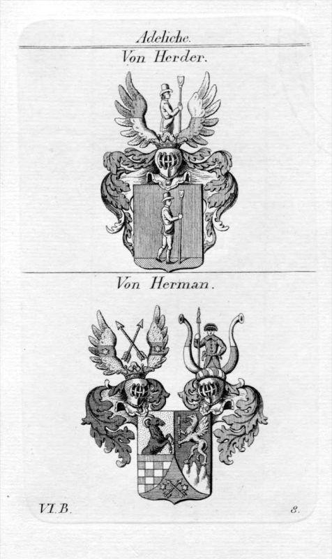 Von Herder / Von Herman / Bayern - Wappen coat of arms Heraldik heraldry Kupferstich