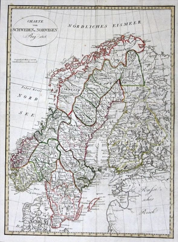 Scandinavia Sweden Norway Finland map Karte Kupferstich