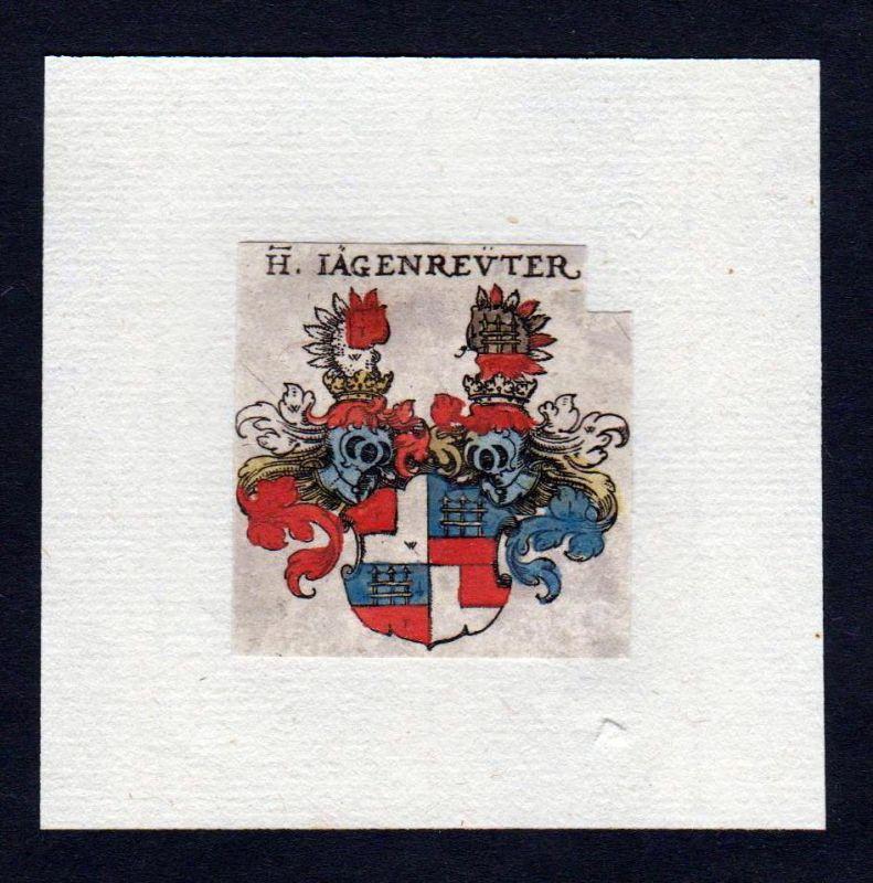 17. Jh von Jägenreuter Wappen coat of arms heraldry Heraldik Kupferstich