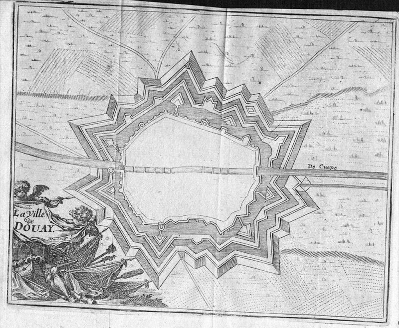 Douai Plan map gravure Original Kupferstich carte engraving