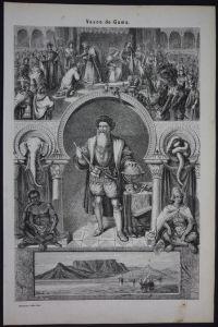 Vasco da Gama explorer Portrait Holzschnitt antique print