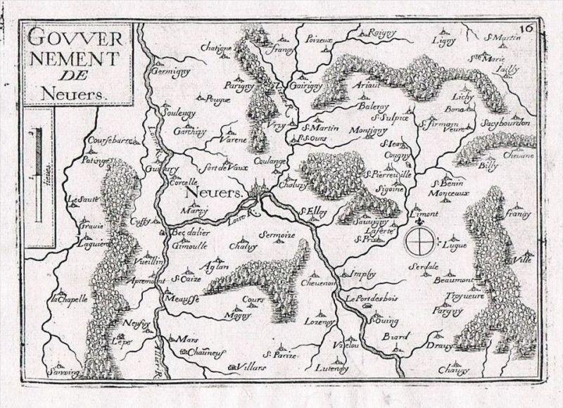 Nevers Nievre Bourgogne Burgund gravure Original Kupferstich Tassin